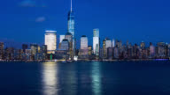 T/L New York City Lower Manhattan skyline day to night to day