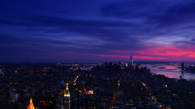 New York City Manhattan City Skyline 4k sunset