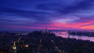 New York City Manhattan City Skyline timelapse 4k sunset