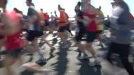 MS New York City Marathon participants running across Verrazano-Narrows Bridge / New York, NY, USA