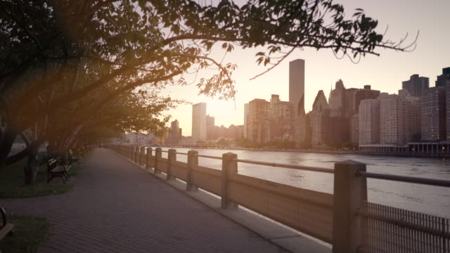 new york city metropolis at sunset. skyline establishing shot