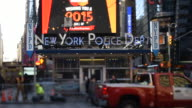 New York City Police Department signage at Times Square in New York New York US on January 5 Wide shots and close ups of New York Police Dept and...