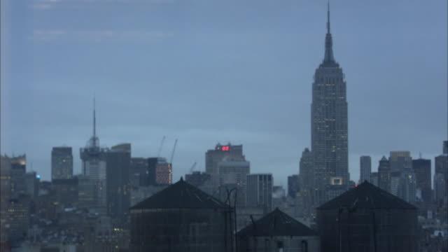 MS, New York City skyline at dusk, New York, USA