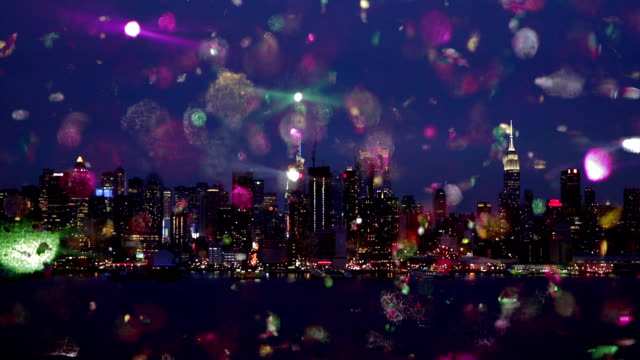 New york city skyline cityscape colored christmas snow for New york in christmas 2017