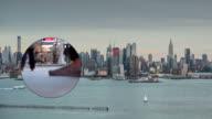 New York City Skyline Cityscape Crowd traffic Busy Empire Binocular