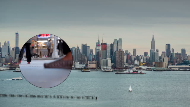 New York City Skyline Cityscape Crowd traffic Busy Empire Binocular