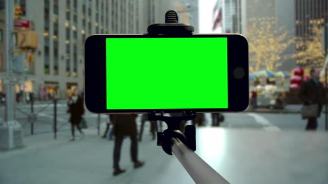 New York City smartphone groen scherm chromakey Kerst vakantie mobiel