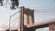 New York City's Brooklyn Bridge on a late summer afternoon.