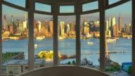 New York cityscape dusk time lapse window panorama cityscape Manhattan