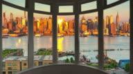 New York cityscape sunset time lapse window panorama cityscape Manhattan