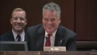 New York Congressman Peter King asks former Homeland Security Secretary Jeh Johnson at a hearing of the House Intelligence Committee inquiring into...