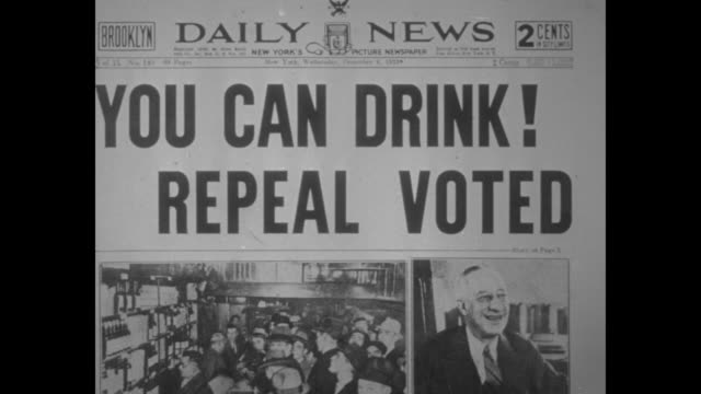 New York Daily News front page with headline 'You Can Drink Repeal Voted' over photos of a crowded bar and a smiling former NY Gov Al Smith // New...
