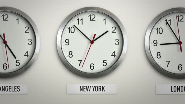 New York international time zone wall clock with 12 hour loop