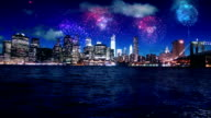 New York Manhattan night fireworks