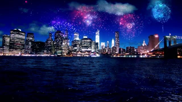 New York Manhattan night fireworks