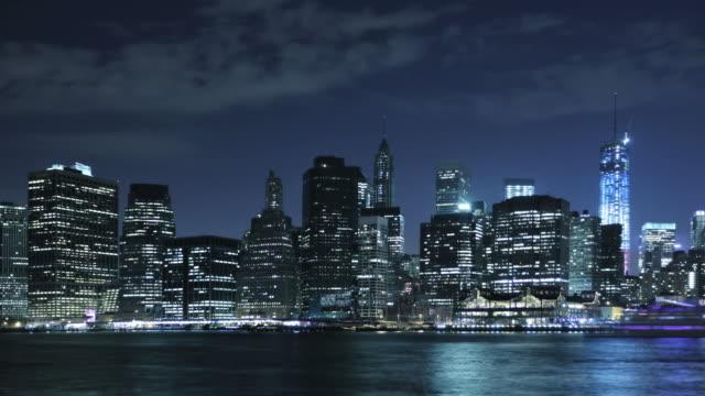 New York riverside at night, USA