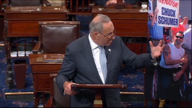 New York Senator Chuck Schumer speaks on the floor after the Senate returned from an Independence Day recess to call it meeting between President...