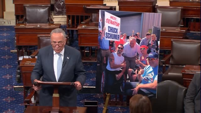 New York Senator Chuck Schumer speaks on the floor after the Senate returned from an Independence Day recess to argue that an amendment proposed to...