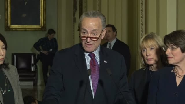New York Senator Chuck Schumer tells reporters at a weekly briefing outside the Senate chamber that budget talks for fiscal 2018 were going quite...
