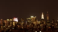 New York Skyline at Night - pan from the Chrysler Building to the Empire State Building