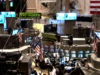 New York Stock exchange on October 23 2008 / ZO from stock ticker to WS of trading floor / PAN WS trading floor / traders on computers