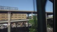 New York subway train and traffic
