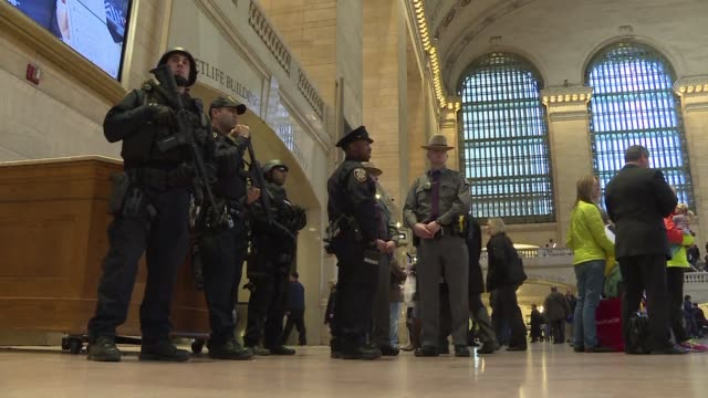 New York was among major cities in the United States which ramped up security Tuesday following the attacks in Brussels deploying armed counter...