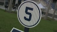 New York Yankees Spring Training Baseball Hall of Fame Names and Jersey Numbers at George M Steinbrenner Field on February 25 2016 in Tampa Florida