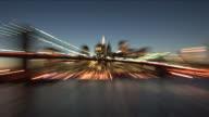 New YorkClose view of Brooklyn Bridge at magic hour in New York United States