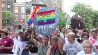 New Yorkers celebrate as the Supreme Court passes two landmark rulings on same sex marriage CLEAN New Yorkers celebrate landmark US on June 27 2013...