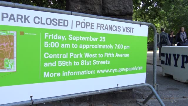 New York's Central Park will be partially closed during Pope Francis' visit to Central Park / The entry shown here is on West 77th Street on the...