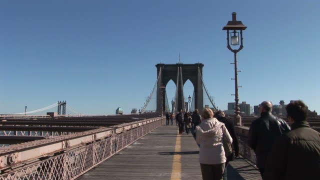 New YorkView of Brooklyn Bridge in New York United States