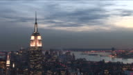New YorkView of Empire State Building at magic hour in New York United States