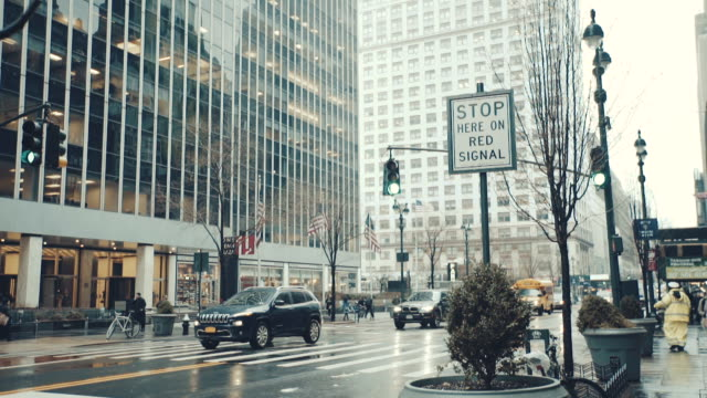 New YorkView of hanging traffic signal in New York United States