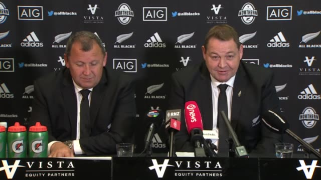 New Zealand All Blacks rugby coaches Ian Foster and Steve Hansen at press conference following naming of team selected to play on 2017 Northern...