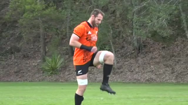 New Zealand All Blacks rugby squad stretching and jogging at training in Brisbane in 2017 including captain Kieran Read Sonny Bill Williams Waisake...