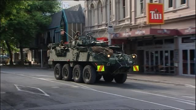 New Zealand Army Light Armoured Vehicle being driven along Gloucester Street