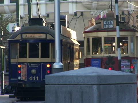 CU, New Zealand, Christchurch, Two trolleys on street