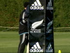 New Zealand's rugby union squad practice ahead of a test match against England Adidas/All Blacks goalpost padding