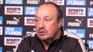 Newcastle manager Rafael Benitez speaking at his press conference ahead of the Carabao Cup second round tie against Nottingham Forest