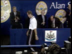 Newcastle United flotation LIB Alan Shearer up onto stage after his signing for the club and supporters applauding