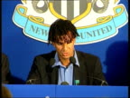 Gullit resigns ITN ENGLAND Newcastle Ruud Gullit along to press conference to announce resignation as Newcastle United Manager CMS Gullit sitting at...