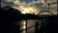 NewcastleuponTyne bridges and buildings / Northern Rock shareholders' meeting ENGLAND Tyne and Wear Newcastle EXT The Sage building and Tyne Bridge...