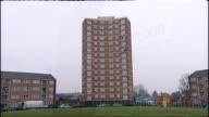 couple charged with murder ENGLAND London Newham EXT Block of flats Front doors of flats in 8th floor lobby EXT Block of flats