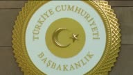 Newly designed emblem of the Turkish Prime Ministry is seen outside the Cankaya Palace in Ankara Turkey on August 5 2015 Footage by Engin Corlu /...