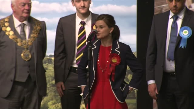 Newly elected Labour MP Jo Cox gives her victory speech after winning the Batley and Spen constituency