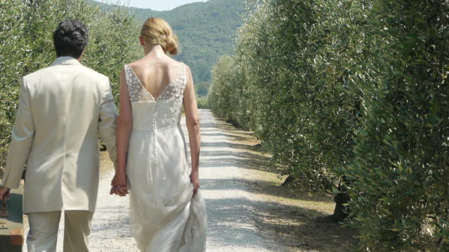 Newlywed couple on rural road with suitcase, kissing