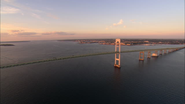 AERIAL, Newport Bridge and Naval War College Museum on Coasters Harbor Island, Newport, Rhode Island, USA