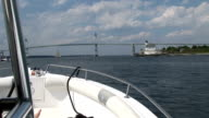 Newport rhode island, view of the bridge from a boat