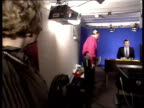 'News at Ten' time change proposals HOC Committee hearing ULM1284 / 531987 Margaret Thatcher in studio as John Suchet reads news in b/g